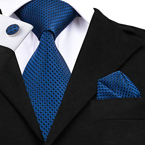 HYCZJH Fashion Blue and Black Dot Tie Silk 8.5cm Necktie for Men Hanky and Cufflinks Business Party Wedding Tie Set Blue Silk Hanky