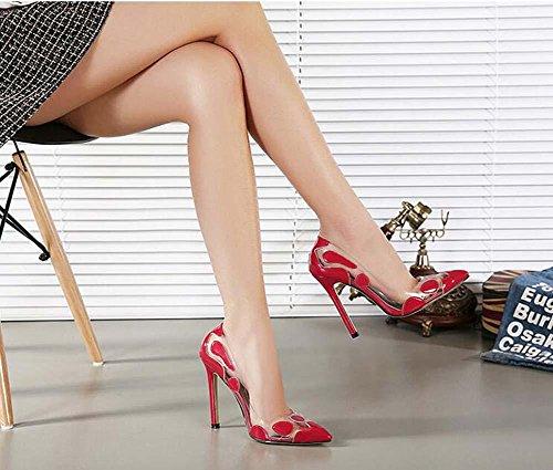 Onfly Pumpe Scarpin Spitze Transparent Kristall High Heel Damen Charmant Sexy Stilett Abendschuhe Hochzeit Schuhe Eu Größe 35-41 Red