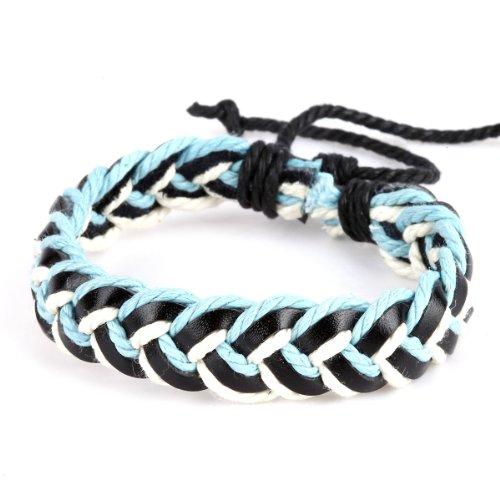 DonDon Unisex Surfer Armband Leder geflochten - hellblau weiß