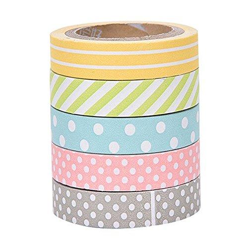 cosanter 5rollos Cinta adhesiva con estampado lunares y líneas cinta adhesiva de carrocero álbumes DIY para fiestas oficina