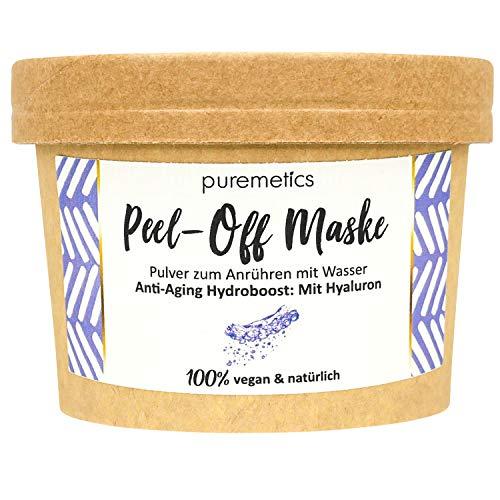 "puremetics Zero Waste Peel-Off Maske\""Anti-Aging Hydroboost - Mit Hyaluron\"" | 100{0c12bd7b1c94d340195adc20f35f8dfc9e5e86a438aeff6a1e7595da86629377} natürlich, vegan & plastikfrei | Naturkosmetik ohne Plastik | Für trockene, müde & reife Haut"