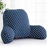 Misslight Luxus Reading Pillow Super Comfortable Chair Bed Support Cushion Bed Back Rest Lumbar Cushion T-Shape Cotton Insert (L, Blue point)