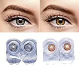 #3: Grey And Honey Colored Contact Lens 2 Pair Monthly Disposable With Case And Solution