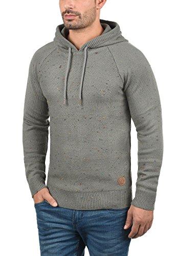 SOLID Balduin Herren Strickpullover Kapuzenpullover Hoodie mit Fischgrät-Muster und buntem Napyarn aus 100% Baumwolle Mid Grey (2842)
