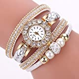 Uhren Damen Quarzuhr Frauen Armbanduhr Luxus Armband Exquisit Uhr Seil Ketten wickelnde Uhr Analoge Bewegungs Armbanduhr Strick Uhrenarmband Watch,ABsoar (C Weiß)