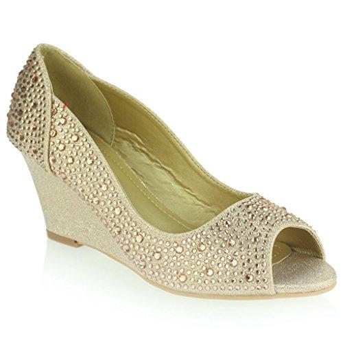 Peeptoe Mulheres Senhoras Diamante Embelezado Meio Saltos De Cunha Festa De Casamento À Noite Prom Tamanho Sapatos De Noiva Sandálias Champanhe