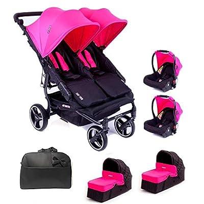 Baby Monsters Silla Gemelar Easy twin 3.0.S + 2 Capazos + 2 Grupo 0+ 2 adaptadores + Regalo Bolso + Regalo de un Neceser Organizador- Danielstore