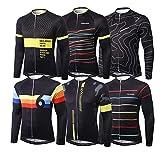 Alpediaa Herren Fahrradbekleidung Langarm Radtrikot Schwarz Outdoor Radsport Langarm Radkleidung Trikot Jersey BLACK106-5