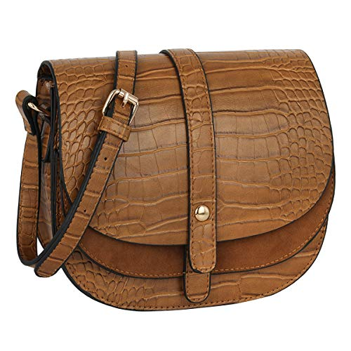 6223aff0c4e9d CRAZYCHIC - Women s Small Crossbody Bag - Crocodile Pattern PU Leather -  Quilted Shoulder Handbag -