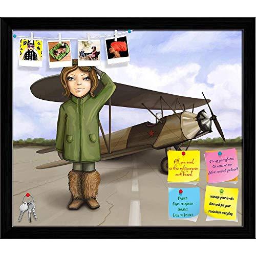 Artzfolio Little Aviator Girl Standing Near Airplane Printed Bulletin Board Notice Pin Board | Black Frame 13.9 X 12Inch