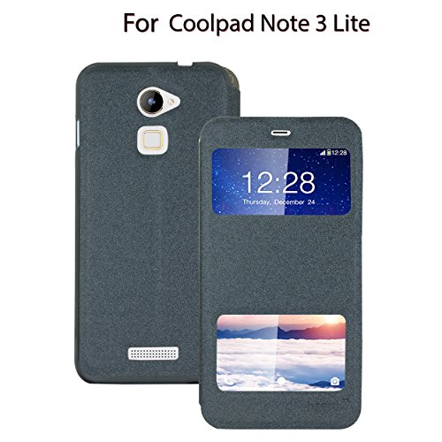Heartly GoldSand Sparkle Luxury PU Leather Window Flip Stand Back Case Cover For Coolpad Note 3 Lite 5 Inch - Best Black
