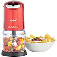 VonShef Mini Red Food Processor Blender Multi Chopper with Detachable Bowl, Suitable for Nuts & Seeds