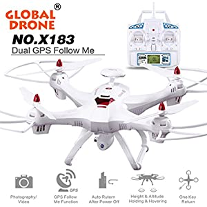 GPS Brushless Quadcopter,Y56 X183 New Globa 2.4GHz 6-Axis Gyro 4CH Brushless Quadcopter With WiFi 5.8FPV 1080P Camera/GPS/Altitude Hold/Surround Feature/Follow Me Function/Headless Mode RTF Helicopter from 5656YAO