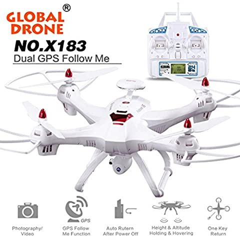 Ularma Global Drone X183 avec 5 GHz WiFi FPV 1080p Camera GPS Brushless Quadcopter (blanc)