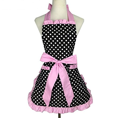 Lovely Sweetheart Retro Küche Schürze Craft Polka Dot Baumwolle Kochen Vintage Schürze Kleid mit Tasche für Frau Cook Chef Kellner...