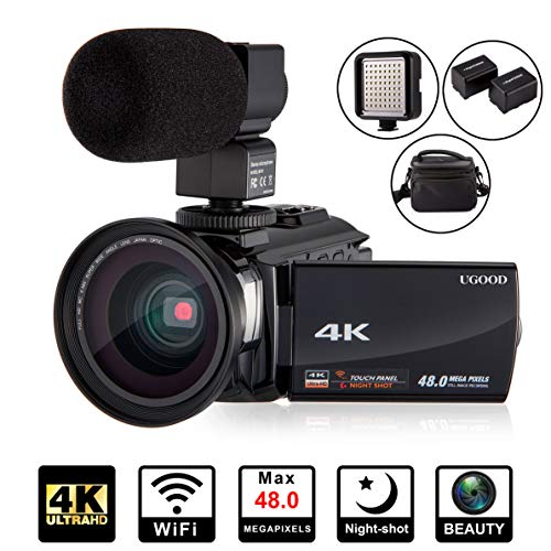 4K Camcorder Videokamera UGOOD Ultra HD WiFi Digitalkamera 48MP Touchscreen 16X Digital Zoom Recorder IR-Nachtsichtgerät mit Mikrofon, Weitwinkelobjektiv, LED-Videoleuchte und Umhängetasche