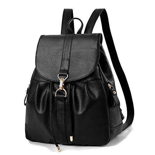 Mini Babala Damen Rucksack, Leder Rucksack Schulrucksäcke PU Leder Reise Daypacks Tasche Schulranzen, schwarz (Schwarze Leder-mini-rucksack)