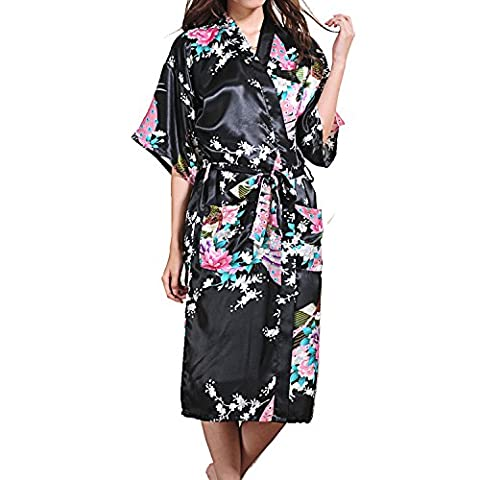 UTOVME Peignoir Femme Kimono Yukata Peacock Bloom Spa Party Robe Nuit Long Style Robe de Chambre Satin Noir XL