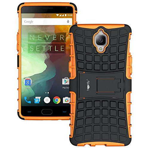 Heartly Rugged Shock Proof Tough Armor Back Case For Oneplus 3T / Oneplus 3 / One Plus 3 - Mobile Orange