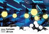 Lunartec Lichterkette Outdoor: Party-LED-Lichterkette m. 10 LED-Birnen, 3 Watt, IP44, warmweiß, 4,5...