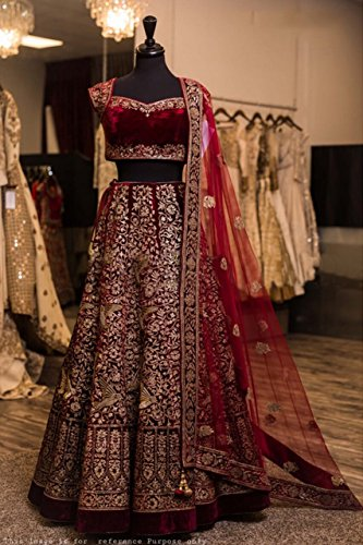 Maroon Tapeta Velvet Silk Embroidery Wedding Semi Stitched Lehenga Choli