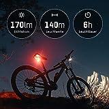 ANSMANN Fahrradlicht Set StVZO zugelassen - Akkubetrieben und aufladbar über USB, CREE LED, regensicher, einfache Montage, abnehmbar - Fahrradbeleuchtung bestehend aus Frontlicht & Rücklicht - 3