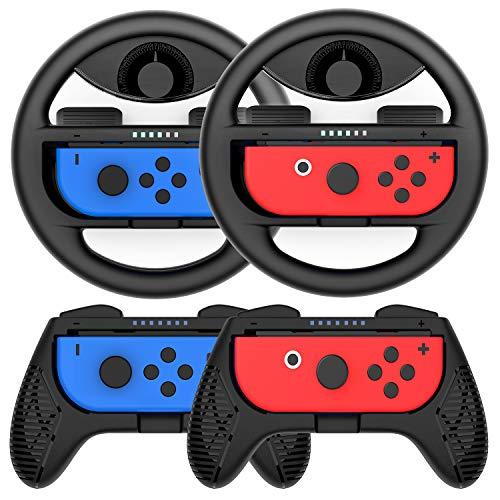 COODIO Switch Joy-Con Lenkrad und Griff, Joy-Con-Lenkrad-Adapter, Joy-Con Griff Hülle für Mario Kart Game / Nintendo Switch Joy-Con Controller, Schwarz (Deluxe 4 Stück)