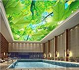Wxlsl Benutzerdefinierte Foto 3D Decke Wandbilder Tapete Wohnkultur 3D Wandbilder Tapete Für Wände Ahorn Blätter Die Hoch Aufragenden Bäume-400Cmx280Cm