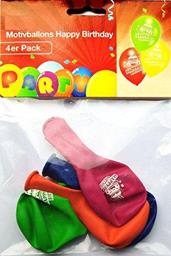 ithday in 4 Farben - Luftballons, Ballons - Standardgröße (Tortenmotiv, beschriftet mit