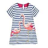 VIKITA Mädchen Kleider Streifen Langarm Baumwolle Herbst Winter T-Shirt Kleid SMK006 6T
