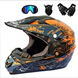 Dual Sport Off Road Motorcycle Motocross Helmet Dirt Bike ATV D.O.T Zertifiziertes Ausdauerrennen Helmet/Multicolor Goggles/Mask/Racing Gloves Orange S-M,Orange,L