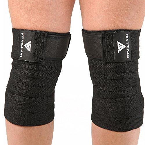 Ginocchiere da sollevamento pesi - fasce di tutore per le ginocchia - palestra, crossfit, squat, deadlift, bodybuilding, fitness allenamento regolabile elastiche compressione supporto (nero)