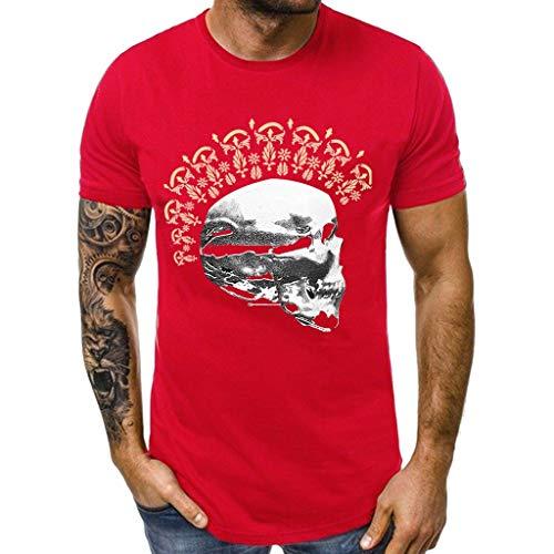 Muscle T Whycat Fashion Men Casual Sommer Schädel Print Kurzarm Oansatz Tops Hübsche T-Shirts(Rot,XXL)