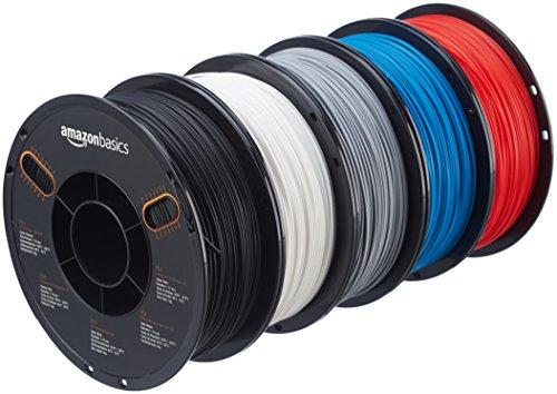 AmazonBasics - Filamento in PLA per stampanti 3D, 1,75mm, 5 colori assortiti, 1 kg per bobina, 5 bobine