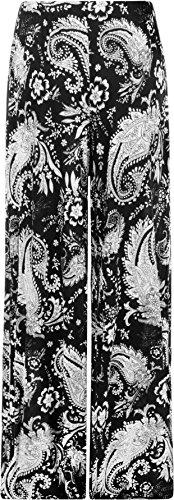 WearAll - Femmes Camaïeu Motif Cachemire Imprimer Large Jambe Palazzo Pantalon Évasée - Pantalons - Femmes - Tailles 40-56 Noir
