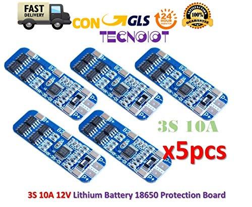 TECNOIOT 5pcs 3S 10A Li-ion Lithium 18650 BMS PCM Battery 12V Protection Board Analog Circuit Pack