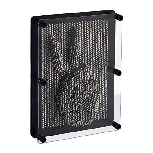 Relaxdays Pinart 3D, Nagelbild für 3D-Abdrücke, H x B 20 x 15 cm, Pinpressions, Retrospiel Nagelbrett, Schwarz und Silber