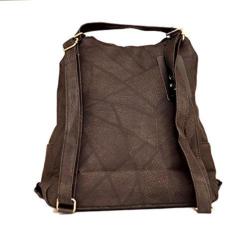 Damen Tasche Cityrucksack Mini Rucksack Schultertasche Umhangtasche Handtasche kleiner Rucksack Stadtrucksack Kunstleder Schwarz