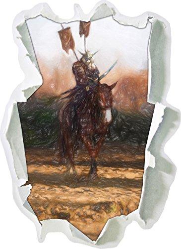 einem Pferd Kunst Buntstift Effekt, Papier 3D-Wandsticker Format: 62x45 cm Wanddekoration 3D-Wandaufkleber Wandtattoo (Günstige Pferd-kostüm)