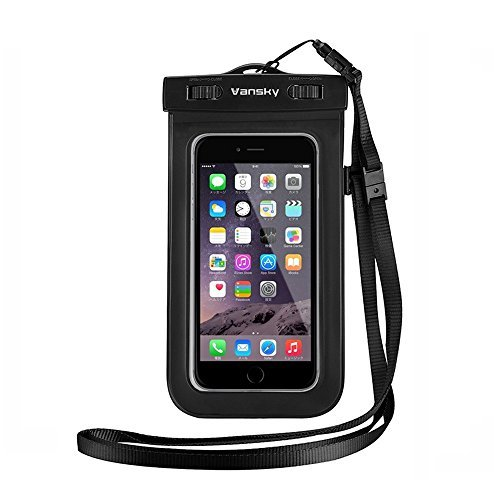 Vansky Universal Waterproof Case Dry Bag For iPhone 6, 6 Plus, 6s,5s,Andriod Mobile Phone Case; Eco-Friendly TPU construction and IPX8 Certified to 100 Feet (Black) Test