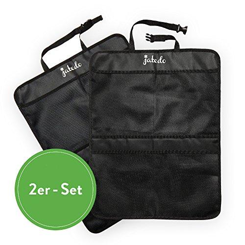 jatedo Rücksitz-Autotasche Kinder (4 extra große Taschen, leicht zugänglich) | Auto-Rückenlehnenschutz | Rücksitztasche Auto Kinder | Autositz-Schutz Kinder + Autositz-Tasche (2 Stück, schwarz)