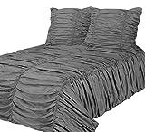 Phoenix XXL 3D Biesen Design Modern Bettüberwurf Tagesdecke 270x300cm Überwurfdecke Farbe: Grau