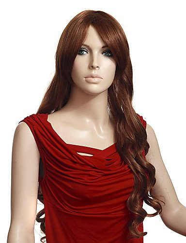 tapón sintético de alta calidad a largo ondulado Light Brown pelucas