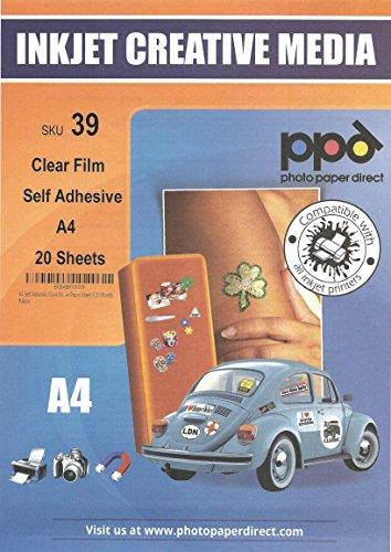 PPD DIN A4 Inkjet Bedruckbare Klebefolie - Selbstklebend Transparent für Tintenstrahldrucker - Ideal für Folien-Etiketten, DIN A4 x 20 Blatt PPD-39-20