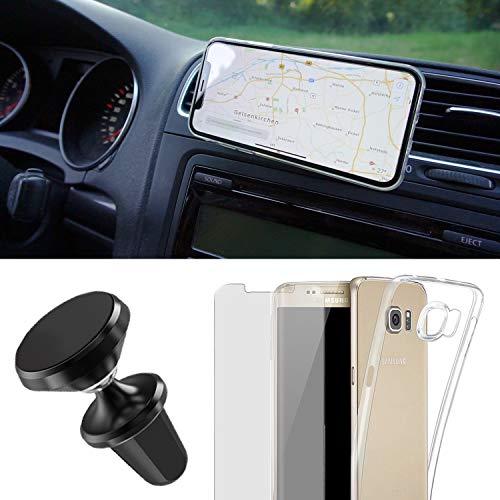 EximMobile Handyhalterung Auto Handyhalter Set + Handyhülle + Schutzfolie kompatibel mit Samsung Galaxy Alpha Handytasche Schutzhülle Lüftung KFZ Halterung PKW Magnet 360 Universal Navi Halter