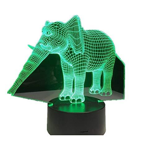 WangZJ Nachtlichter / 3d Illusion Lampe / 7 Farbe/jungen Geschenke/home Schlafzimmer Party Supply Dekoration/Urlaub/Elefant (Schlumpf Party Supplies)