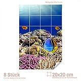 Graz Design 761555_20x20_50 Fliesenaufkleber Fische/Korallen für Kacheln | Bad-Fliesen mit Fliesenbildern überkleben (Fliesenmaß: 20x20cm (BxH)//Bild: 50x75cm (BxH))