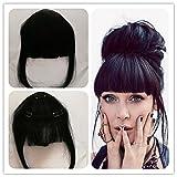 Clip In Haar Pony Echthaar, silmei Echte, natürliche aussehende gebunden Clip in Pony schwarz 15,2cm Haarteil Seitlicher Pony Extensions-für Frauen Mädchen.