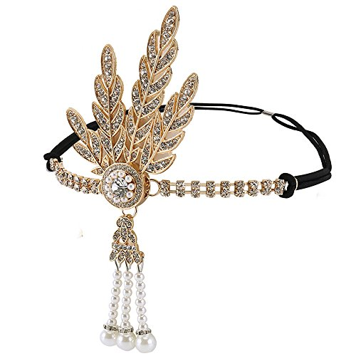 and Flapper Frauen Vintage Strass Kopfbedeckung Great Gatsby Zubehör Party Hochzeit Brautschmuck gold ()