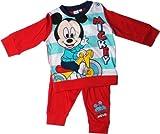 Disney Mickey Mouse Baby Pyjama/Schlafanzug / Langarm-Shirt und Hose - Mickey fährt Dreirad - Rot/Mehrfarbig